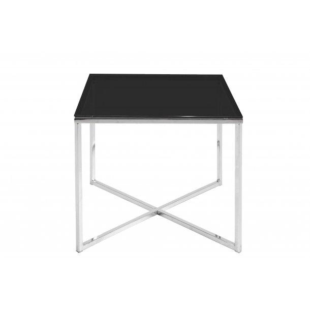 Cape hjørnebord 50x50 cm glas sort og chrome stel.