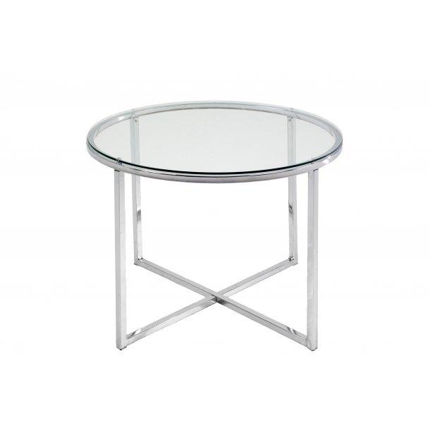 Cape hjørnebord Ø55 cm glas klart og chrome stel.