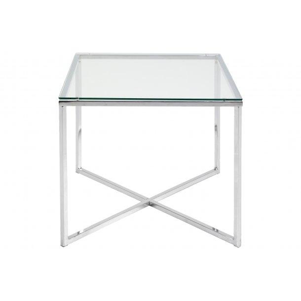 Cape hjørnebord 50x50 cm glas klart og chrome stel.