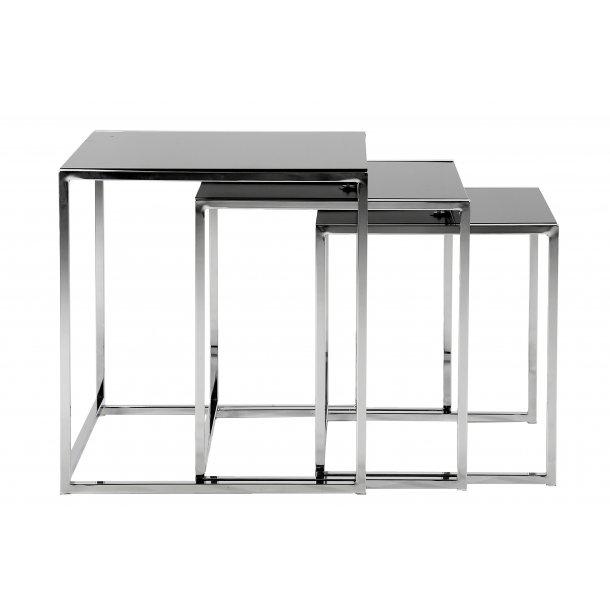 Cape indskudsborde 3 stk. glas sort og chrome stel.