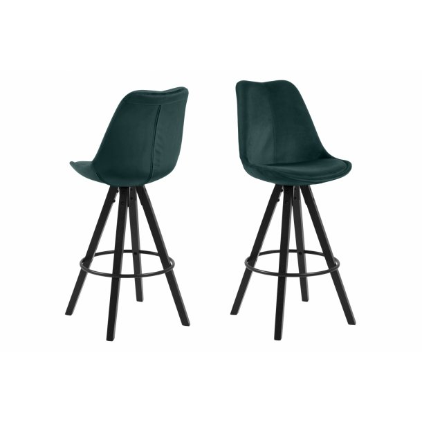 Dry barstol som skalstol i flaskegrøn.