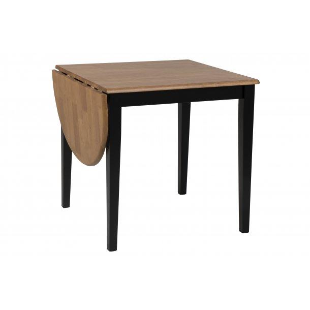 Brise spisebord 75/115 x 75 cm med tillægsplade i egebejdset lak og sort.