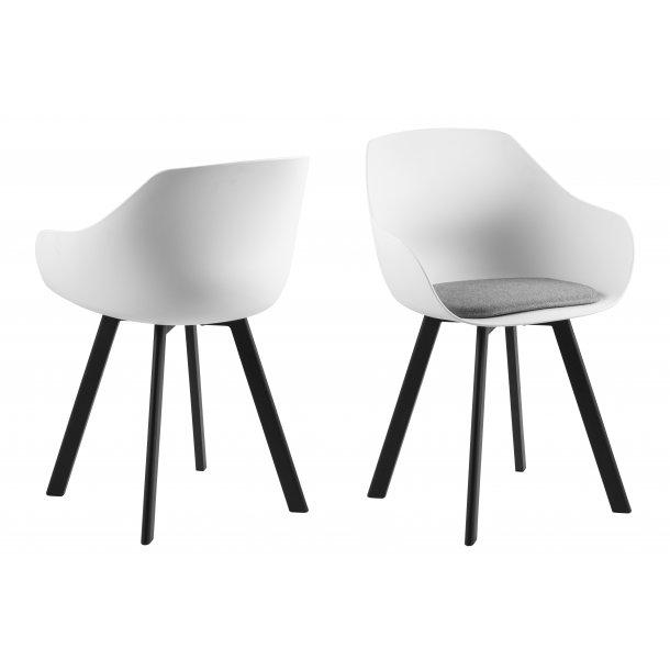 Time spisestuestol i hvid og lys grå hynde, ben i metal sort.