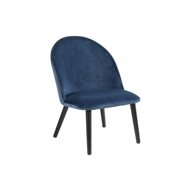 Masley lænestol i marineblå med sort piping.