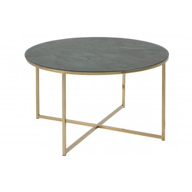 Almaz sofabord Ø80 cm i glas med marmorprint grøn og stel i gylden chrome.