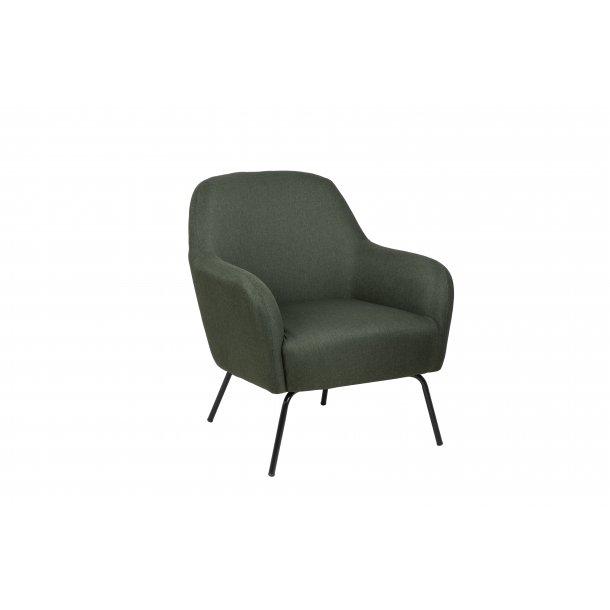 Mel lænestol i grøn og stel i metal sort.