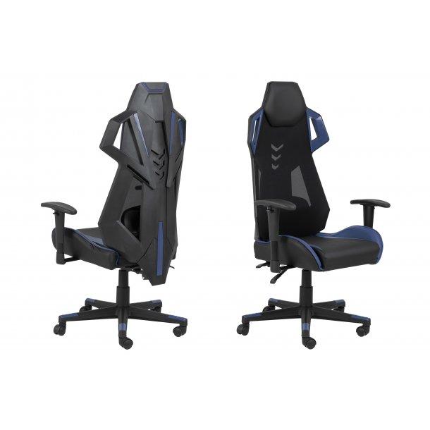 Kercy kontorstol gamer stol, justerbar armlæn og ryg sort og blå.
