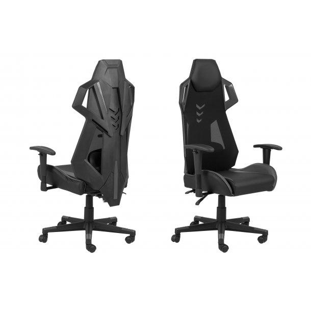 Kercy kontorstol gamer stol, justerbar armlæn og ryg sort og grå.