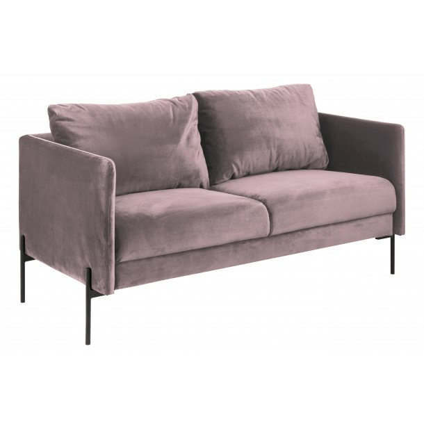 Kimmy sofa 2,5 personers dusty rose, metal sort.