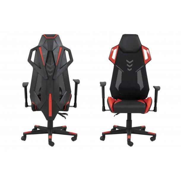 Kercy kontorstol gamer stol, justerbar armlæn og ryg sort og rød.