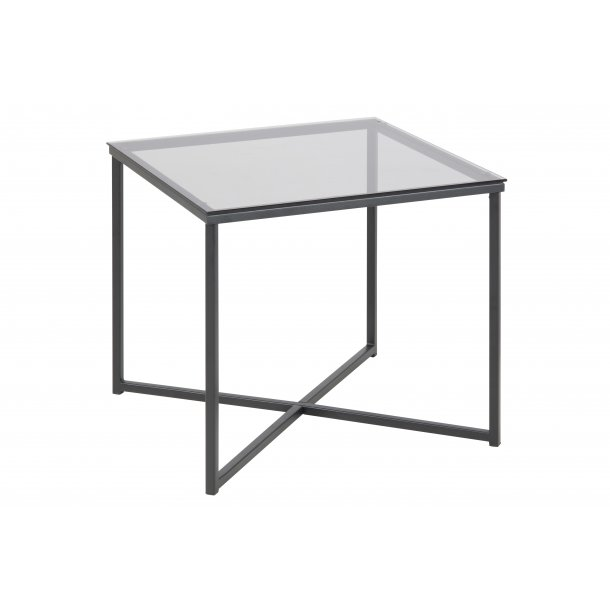 Cape hjørnebord 50x50 cm røgfarvet glas og metal mat sort.