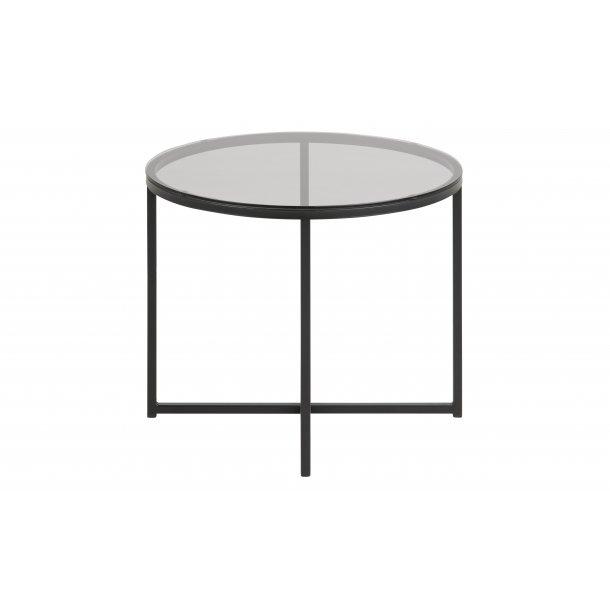 Cape hjørnebord Ø55 cm røgfarvet glas og metal mat sort.