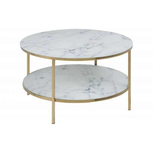 Almaz sofabord Ø80 cm hvid marmor print, gylden krom.