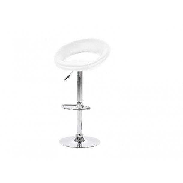Plus barstol i hvid PU kunstlæder og med fod i chrome med gaspatron.