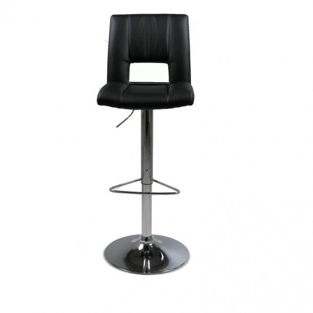 Syra barstol i svart PU kunstskinn med heve, senke funksjon.