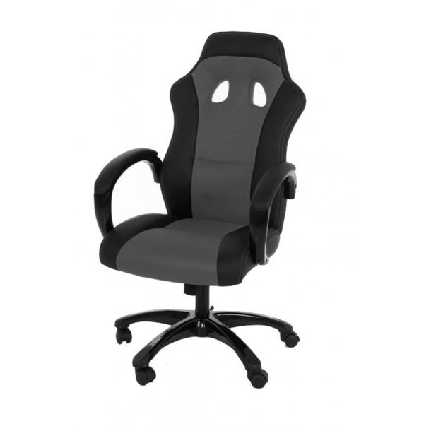 Ravn kontorstol, gamer stol med armlæn og tilt funktion i sort og grå.