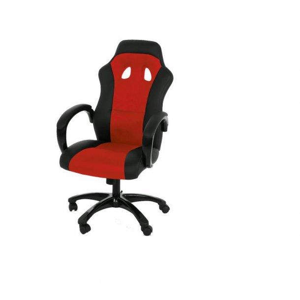 Ravn kontorstol, gamer stol med armlæn og tilt funktion i sort og rød.