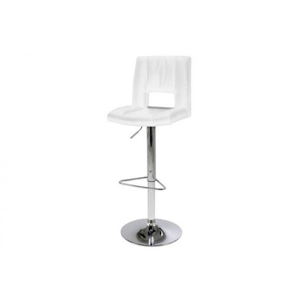 Syra barstol i hvid PU kunstlæder med hæve, sænke funktion.