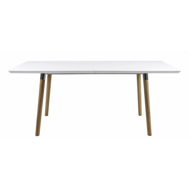 Lire spisebord 100 x 170/370 cm inkl. 4 tillægspl., i hvid med pincon ben og chrome beslag.