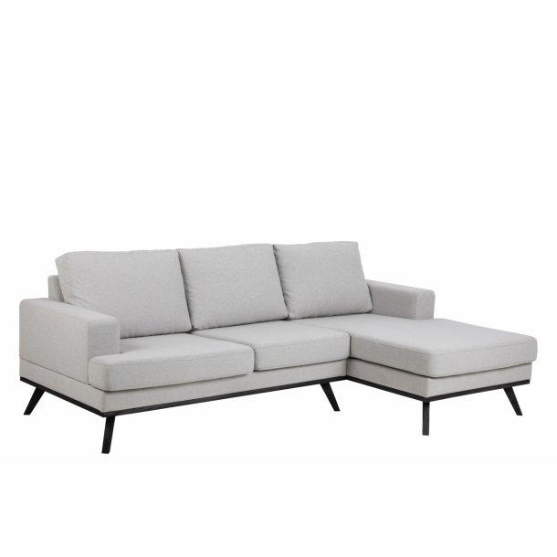 Nord sofa chaiselongsofa til højre stof lysegrå og ben i sort.