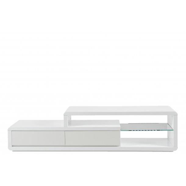 Evan TV bord med 2 skuffer, 1 glashylde med LED lys, hvid højglans.