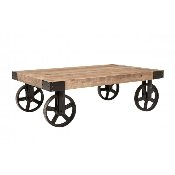 Burk sofabord i recycled elm og stål hjul i sort.