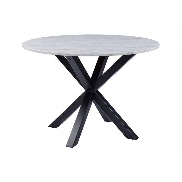 Henry spisebord Ø110 cm hvid marmor print, metal sort.