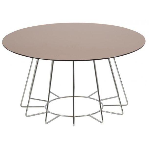 Caja sofabord Ø 80 cm med bronzefarvet glas bordplade og chrome stel.