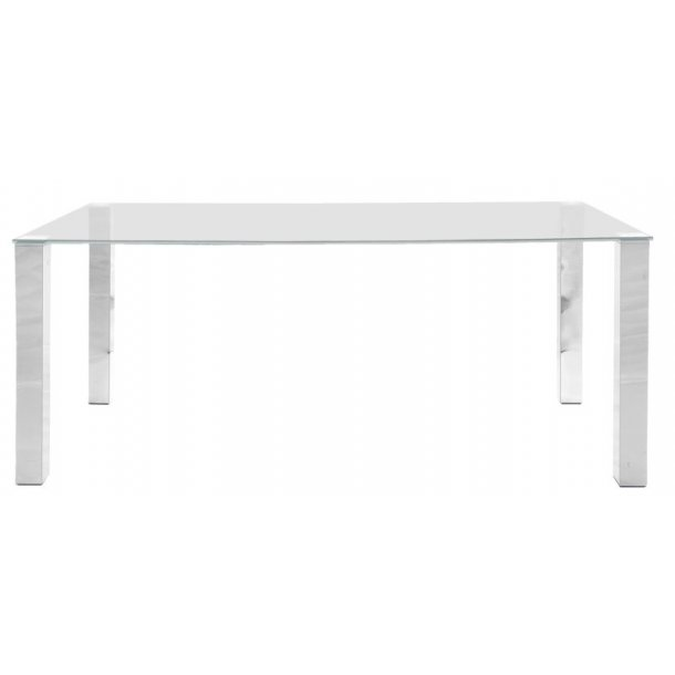 Spisebord Krag 180 cm med glassplate og krom stell