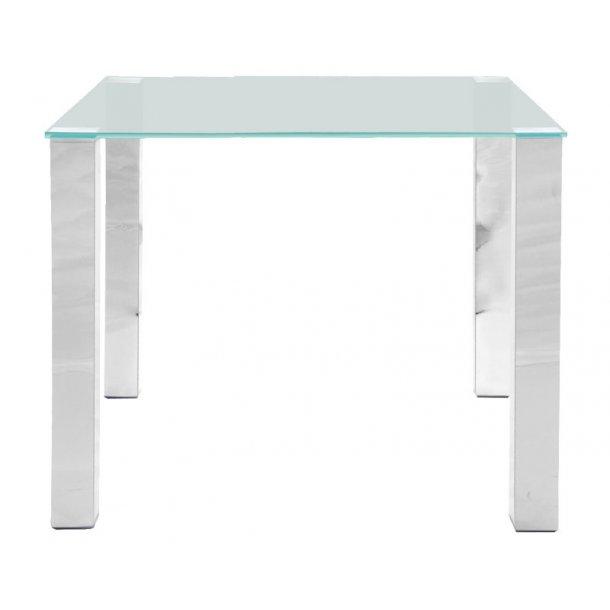Spisebord Klint 90 x 90 cm med en klar glasplade og ben i chrome.