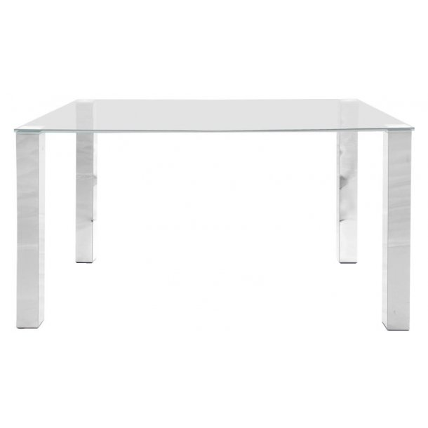 Spisebord Klint 90 x 140 cm med en klar glasplade og ben i chrome.