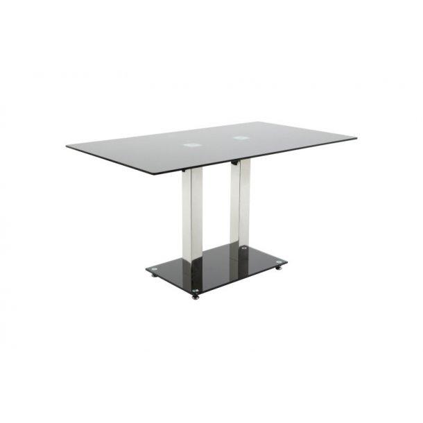 Spisebord Elsa 80 x 140 cm med bordplate i svart glass.