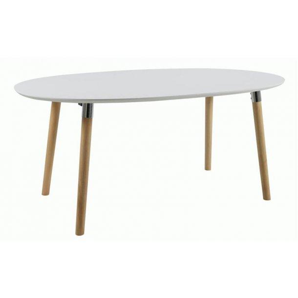 Belle spisebord 100 x 170 cm i hvid med Pincon ben og chrome beslag.