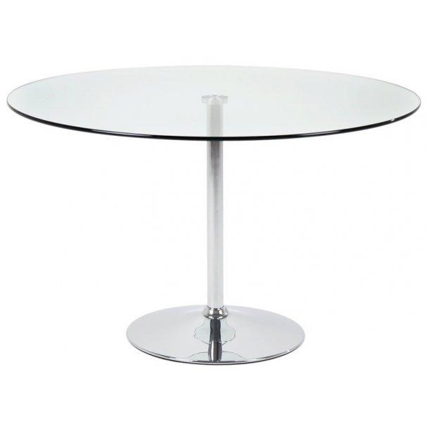 Spisebord Belinda Ø 100 cm med en klar glasplade.