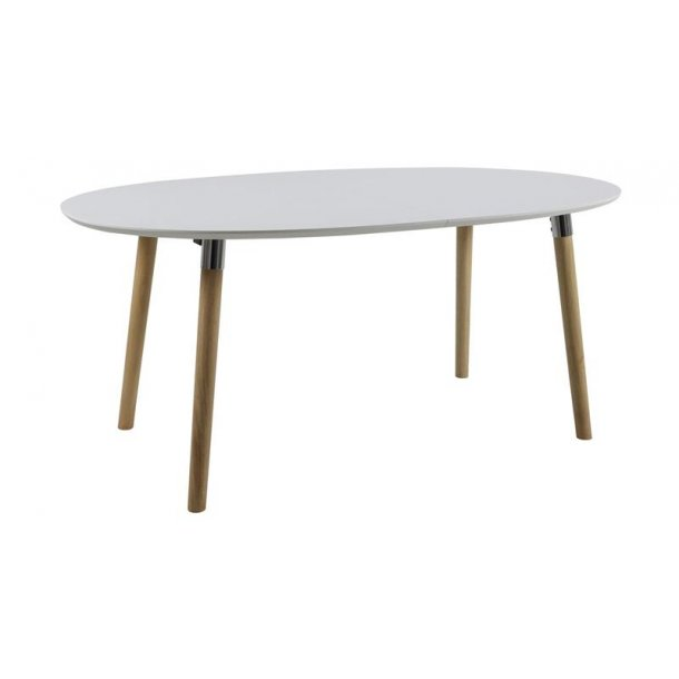 Belle spisebord 100 x 170/270 cm inkl. 2 tillægspl., i hvid med Pincon ben, crome beslag.