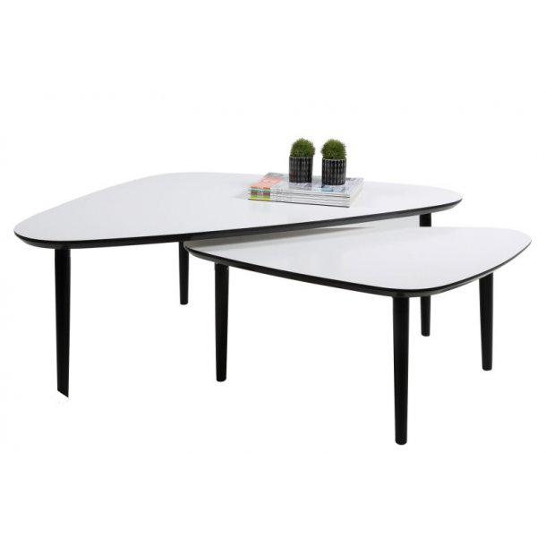 wohnzimmertisch geo 2 stck mit einschubfunktion in wei und schwarz kaufen sie jetzt. Black Bedroom Furniture Sets. Home Design Ideas
