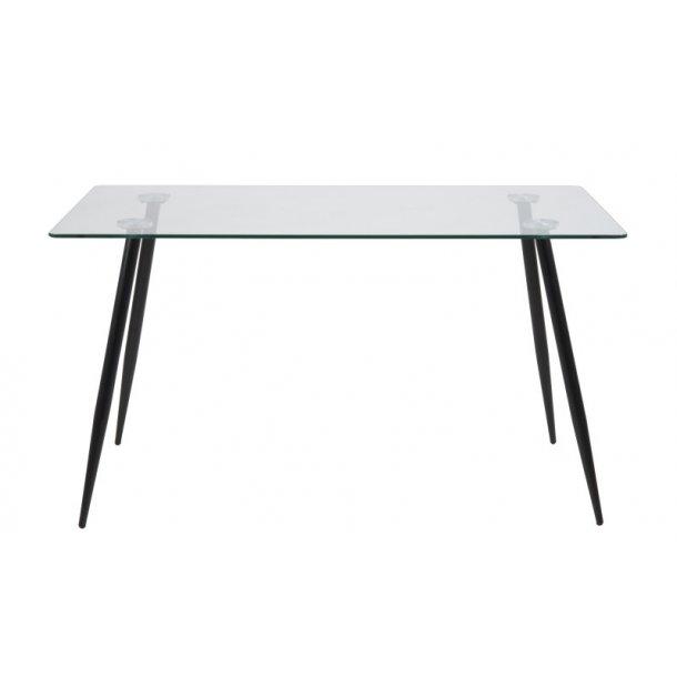Willy spisebord i klar glas og sorte ben, 80 x 140 cm.