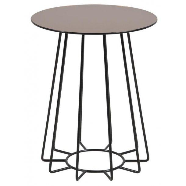 Caja hjørnebord med bronzefarvet glas bordplade og sort stel.