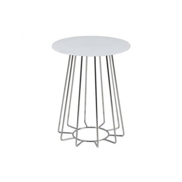 Caja hjørnebord i glas hvid og chrome, Ø 40 cm.