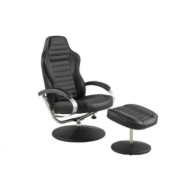 Ole recliner lænestol med positionsryg og fodskammel i sort og grå PU kunstlæder.