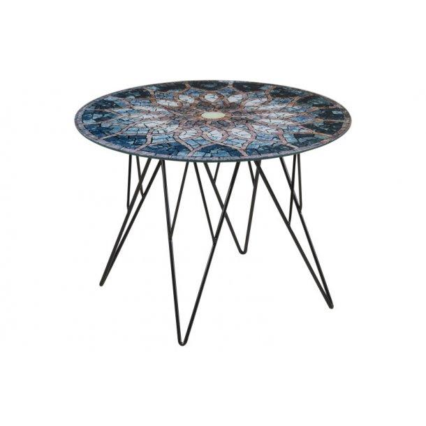 Plymoth hjørnebord i glas med mosaik print, Ø 55 cm.