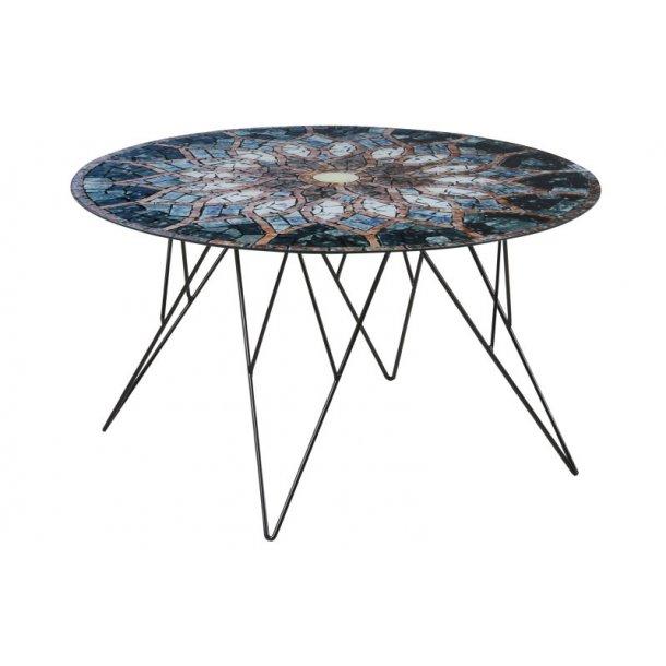 Plymoth sofabord i glas med mosaik print, Ø 80 cm.