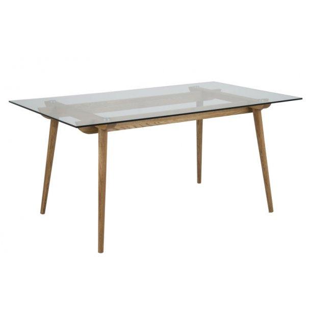 Ted spisebord i klar glas og massiv eg, 90 x 160 cm.
