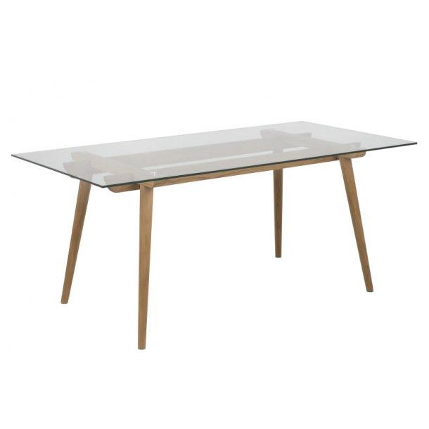 Ted spisebord i klar glas og massiv eg, 90 x 180 cm.