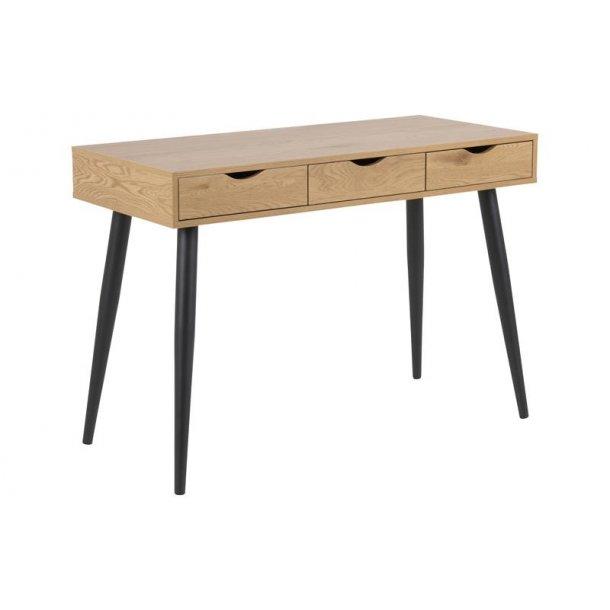 Nice Nete skrivebord med 3 skuffer i vild eg dekor. Fri fragt! PR78