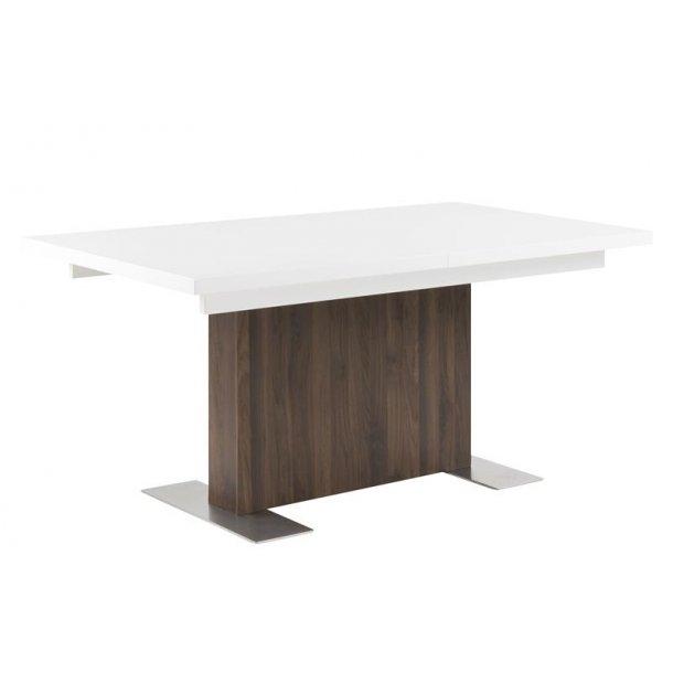 Bern spisebord med 1 illægsplade længde 160 el. 210 i hvid højglans og valnød dekor.