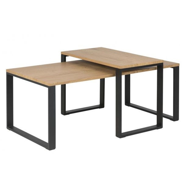 Kamma sofabord med ekstra bord i vild eg dekor.