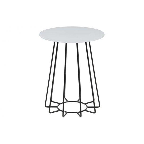 Caja hjørnebord Ø 40 cm i hvid glas og sort stel.