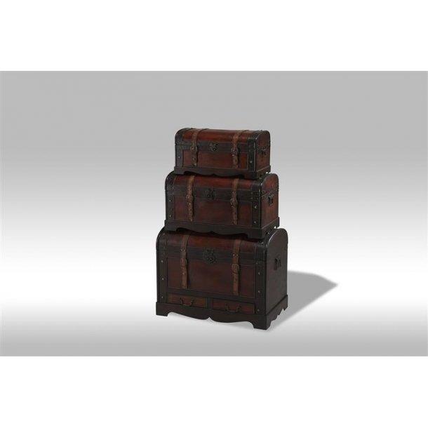 Kiras dragkister 3 stk. i brun med rundt låg.