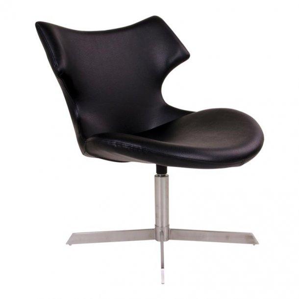 Zero lænestol i sort PU kunstlæder med børstet stål ben.